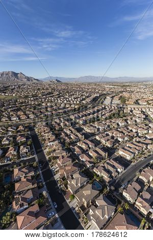 Aerial view of suburban bedroom community in Las Vegas, Nevada.