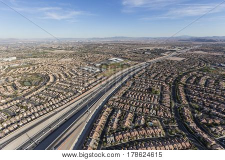 Aerial view of the 215 freeway and the Summerlin neighborhood of Las Vegas, Nevada.