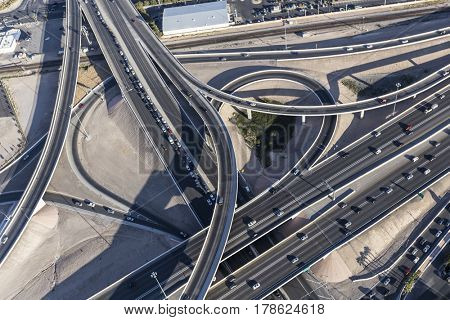 Aerial view of route 15 and 95 freeway interchange ramps in downtown Las Vegas, Nevada.