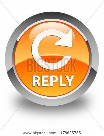 Reply (rotate Arrow Icon) Glossy Orange Round Button