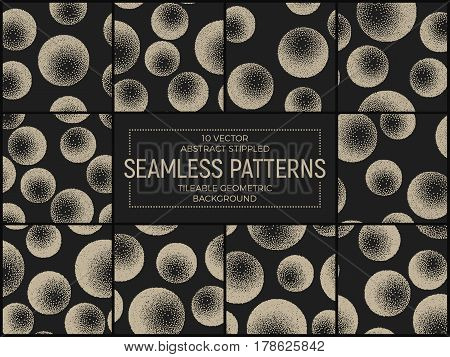 Set of 10 Vector Abstract Stippled Seamless Patterns. Handmade Tileable Geometric Dotted Grunge Background