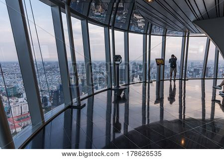 HO CHI MINH CITY VIETNAM - March 27 2017: The interior viewing platform Bitexco skyscraper. View of The Bitexco building. Bitexco Tower is the highest building in HCMC. Saigon
