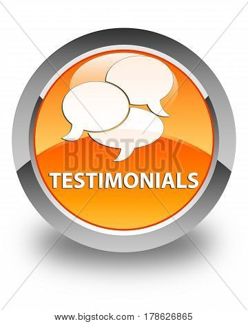 Testimonials (comments Icon) Glossy Orange Round Button