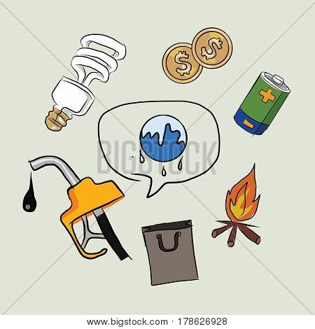 earth destruction global warming icon oil electricity money fire lamp drawing sketch in color vector