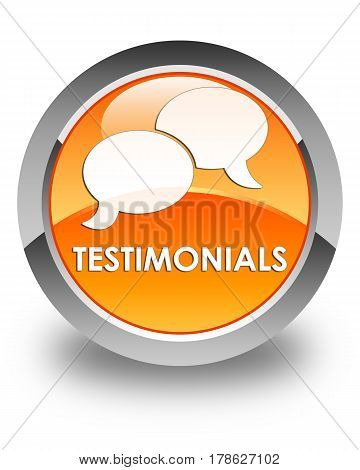 Testimonials (chat Icon) Glossy Orange Round Button