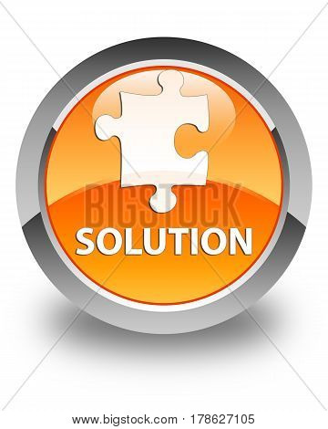 Solution (puzzle Icon) Glossy Orange Round Button