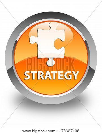 Strategy (puzzle Icon) Glossy Orange Round Button