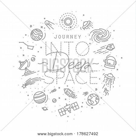 Space flat monogram lettering journey into deep space drawing with grey lines on white background