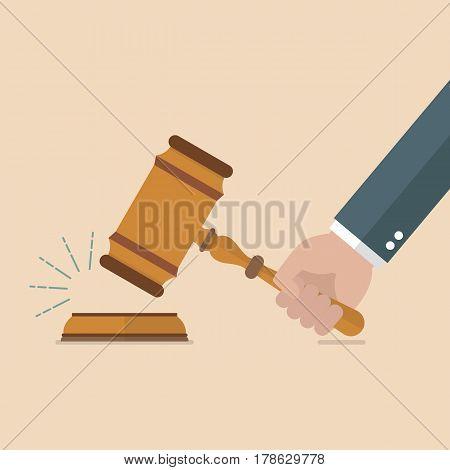 Hand holding judges gavel. Vector illustration cartoon