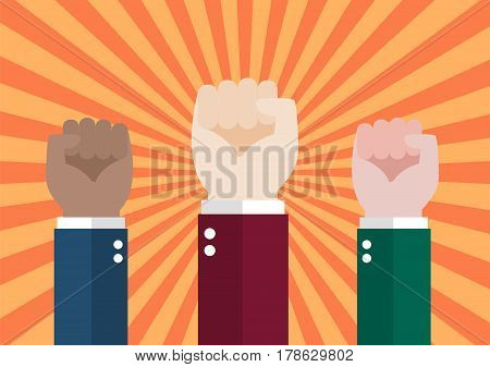 Human hand protesters. Protest concept vector illustration