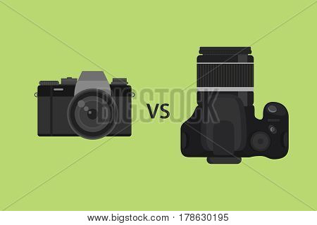 comparing Mirrorless camera vs DSLR camera picture illustration with black color and green background vector