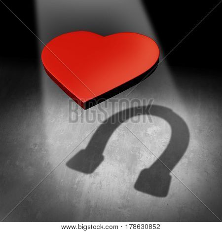 Lucky in love and success in finding a romantic partner as a heart casting a shadow of a luck horseshoe as a dating or marriage success metaphor for winning in romance as a 3D illustration.