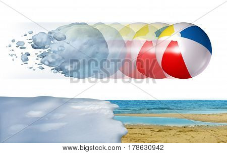 Cold to hot weather concept as a freezing winter snowball transforming into a summer beach ball as a season change or temperature changing metaphor with 3D illustration elements.