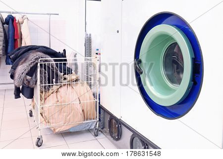 Washing machine at dry-cleaning