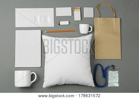 Set of blank items for branding on grey background