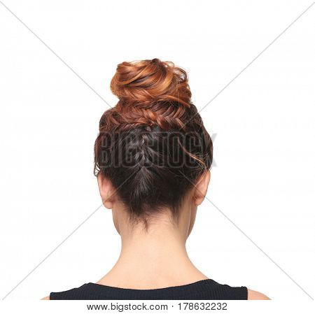 Woman with modern hairstyle isolated on white