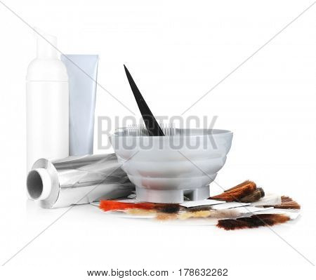 Set for coloring and hair samples of different tints isolated on white
