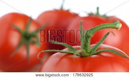 Extreme close-up image of fresh tomato stem, 16x9 crop