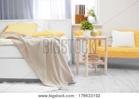 Interior of comfortable bedroom