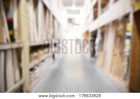 Blurred view of warehouse inventory