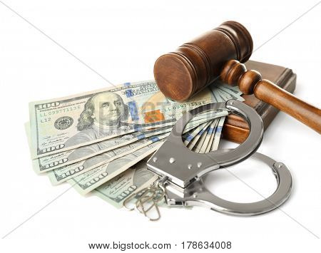 Judge's gavel, handcuffs and money on white background