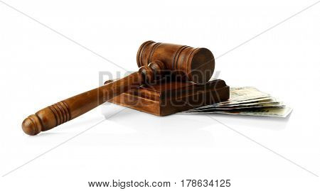 Judge's gavel and money on white background