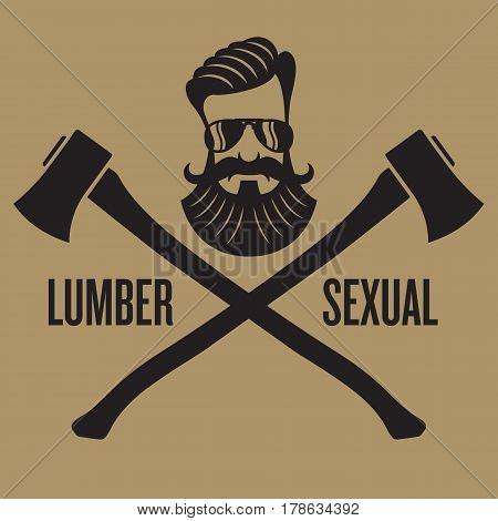 Lumbersexual hipster design Vector design with crossed axes and hipster head.