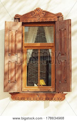 Vintage window with sand wall background