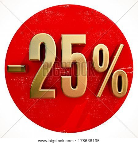3d render: Gold 25 Percent Sign on Shabby Red Circle with Shadow, 25% Off