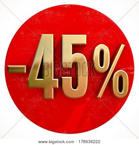 3d render: Gold 45 Percent Sign on Shabby Red Circle with Shadow, 45% Off