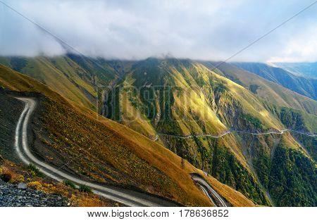 View In The Caucasus Mountains. Road To Omalo In Tusheti Region. Georgia