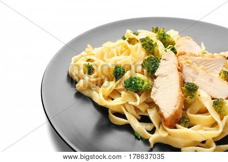 Plate with delicious chicken Alfredo on white background, closeup