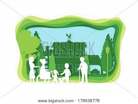 Family concept with grandfather grandmother mom dad child and little dog in happy house. Paper art style. Horizontal vector illustration.
