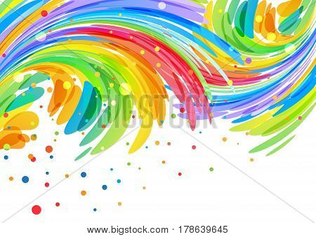 Congratulatory background with abstract curved colored elements on white