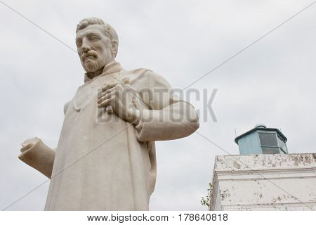 Statue Of Saint Francis Xavier In Outside Of The Church In Front Of The Church Of Saint Paul In The