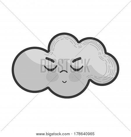 grayscale kawaii angry cloud with closed eyes and mouth, vetor illustration design