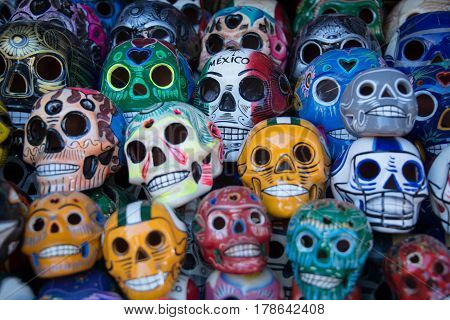 Day of the Dead skulls Día de los Muertos holiday colorful altar skulls for celebration