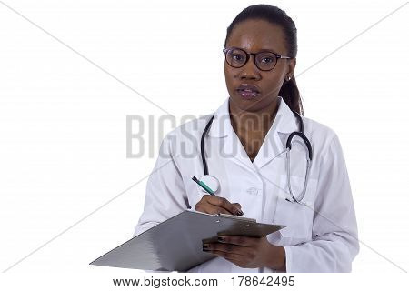 Beautiful young female doctor black with clipboard and patient records