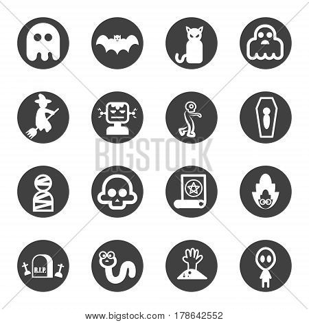 monster ghost icon set vector gray icon .