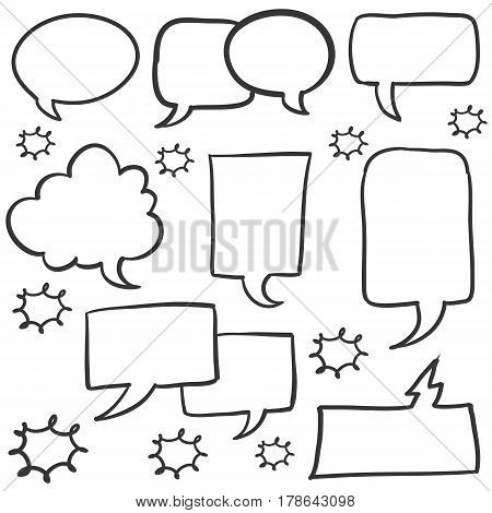 Doodle text balloon collection stock vector illustration