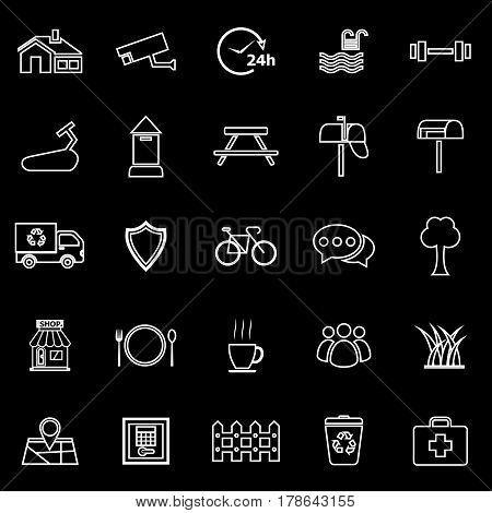 Village line icons on black background, stock vector