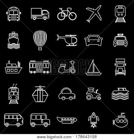Transportation line icons on black background, stock vector