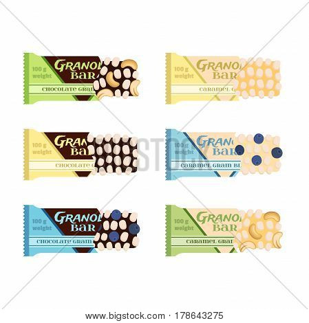 Granola bars. Chocolate, caramel with grain, berries, nuts. Protein sport bars. Flat vector style.