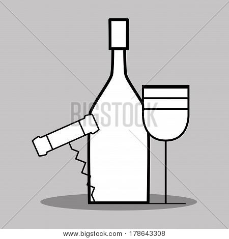 wine bottle and glass with corkscrew, vector illustration design