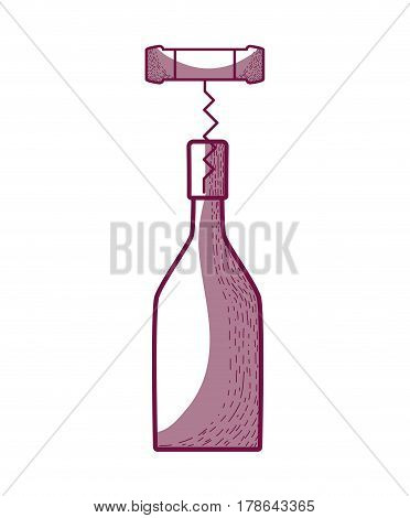 wine bottle with corkscrew tool, vector illustration design