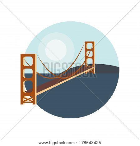 golden gate bridge icon badge vector bridge .
