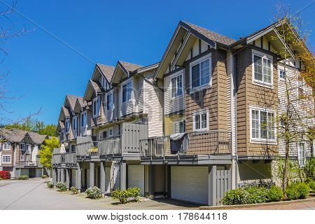 Block of new townhouses in Burnaby Canada.