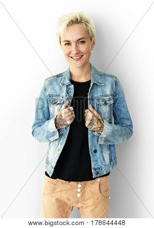 Caucasian Blonde Woman with Jeans Jacket