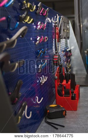 Toolbox with different instruments - industrial concept, telephoto