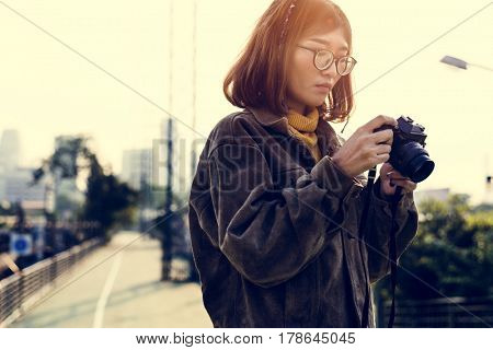 Young Woman and Camera Trip Travel Wanderlust